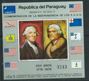 Paraguay #1625A 15g US Bicent. Souviner Sheet (MNH) CV$30.00