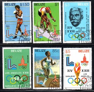 BELIZE 555-60 USED CTO SCV $37.50 BIN $15.00 OLYMPICS