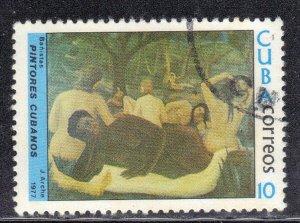CUBA SC# 2155  **CTO** 1977  10c  ART,  BATHERS   SEE SCAN