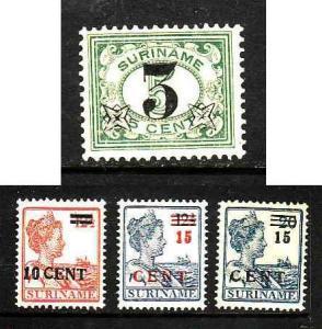 Surinam-Sc#116-119-unused hinged surcharged set-1925-