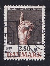 Denmark  #786   used  1985   Association for the deaf  hand signing