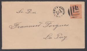 Bolivia H&G B4 used 1894 10c orange Entire w/  Leaf Fancy Cancel of Potosi, VF