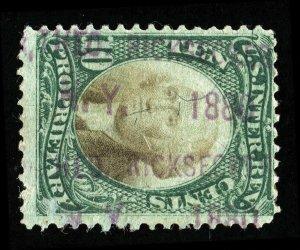 B258 U.S. Revenue Scott RB7a, 10-cent Proprietary, violet handstamp, SCV = $300