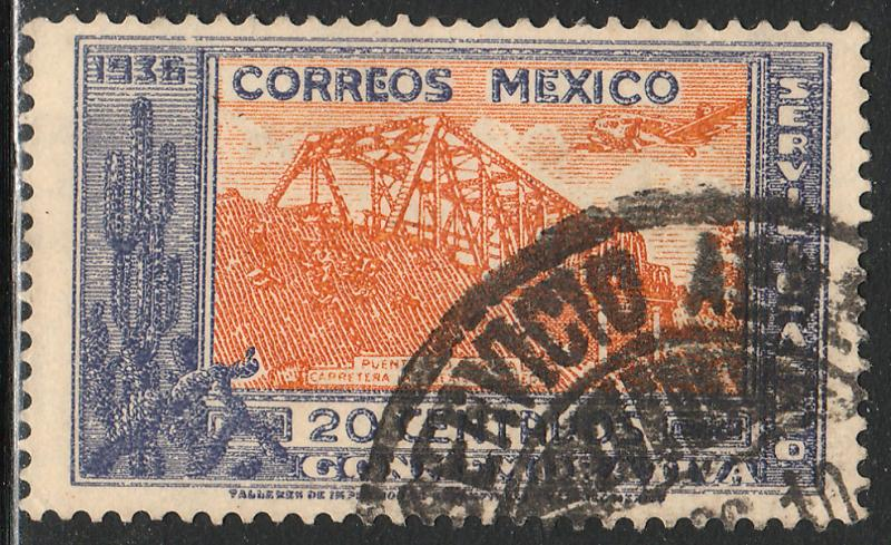 MEXICO C78, 20cents HIGHWAY INAUGURATION, USED. (580)