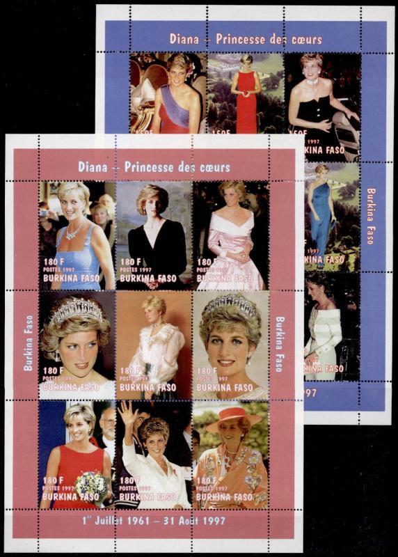 Burkina Faso 1090a,1090k MNH Diana, Princess of Wales, Flowers