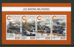 CENTRAL AFRICA 2018  MILITARY AIRPLANES SHEET MINT NH