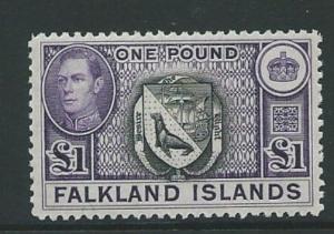FALKLAND ISLANDS SG163 1938 £1 BLACK & VIOLET MTD MINT