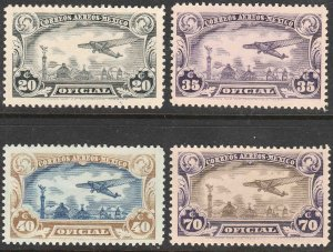 MEXICO CO12-CO15, OFFICIAL AIR MAIL, COMPLETE SET, MINT, NH. F-VF.