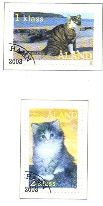Aland Finland Sc 210-11 2003 House Cats stamp set used