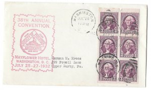 720b FDC Event Cover 1932 Washington Booklet Pane of 6 SPA Convention Cachet