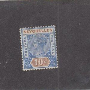 SEYCHELLES (MK4344)  # 7a  VF-MH 10c QUEEN VICTORIA /BLUE & BROWN CAT VALUE $13