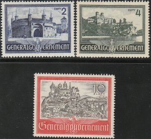 Stamp Germany Poland General Gov't Mi 063-65 Sc N73-5 1941 WWII War Era MH