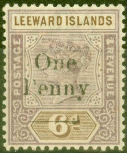 Leeward Islands 1902 1d on 6d Dull Mauve & Brown SG18 Fine Lightly Mtd Mint