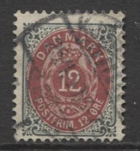 Denmark - Scott 46a - Definitive Issue -1895 - Used - Single 12s Stamp