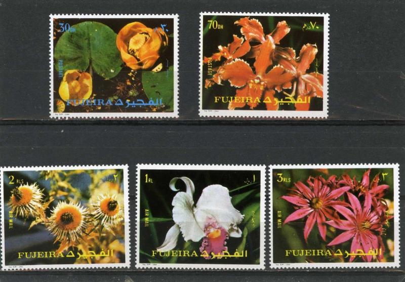 Fujeira MNH 1332-6a Orchids Flowers 1972