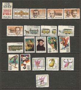 USA Postage Stamps Used 1983,1984