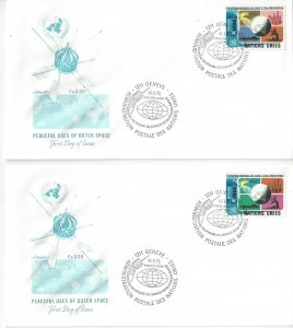 United Nations Geneva  46-7  FDC  Artmaster Peaceful Uses of Outer Space