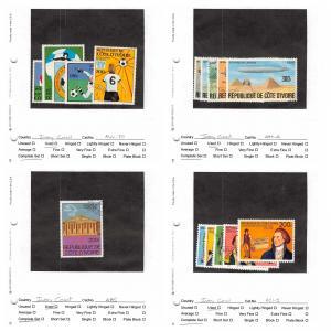 Lot of 67 Ivory Coast Used Stamps Scott Range 421 - 711 & C15- C84 #142437 X R