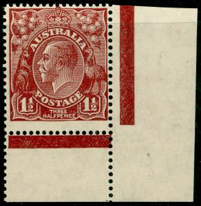 AUSTRALIA SG126, 1½d red-brown, NH MINT. MARGINAL.