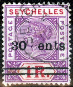 Seychelles 1902 30c on 1R Brt Mauve & Dp Red SG43Var C omitted in Cents ENTS V.F