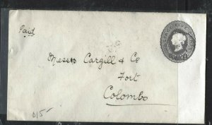 CEYLON (P0808BB)1894  QV 5C   PSE TO COLOMBO