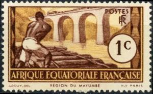 French Equatorial Africa #33 1c Logging on Loeme River Unused/H