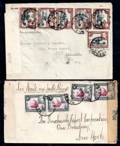 Kenya Uganda KGVI multi stamp censored covers to New York WS13815