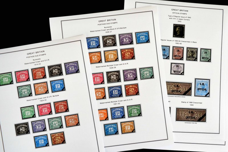 COLOR PRINTED GREAT BRITAIN [CLASS.] 1840-1951 STAMP ALBUM PAGES (28 ill. pages)