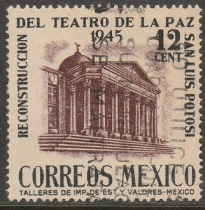 MEXICO 801, 12c Reconstruction of La Paz Theater Used VF. (822)