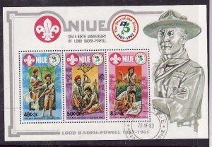 Niue-Sc#375- id5-used sheet-Boy Scouts-1983-