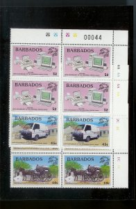BARBADOS Sc#973-974, 976 Partial Mint Never Hinged PLATE BLOCK Set