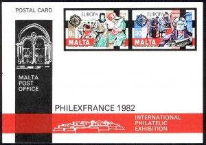Malta MNH Postal Card 1982 PHILEXFRANCE Europa