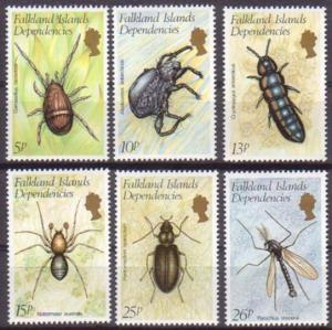 Falkland Islands MNH 1L66-71 Insects 1982