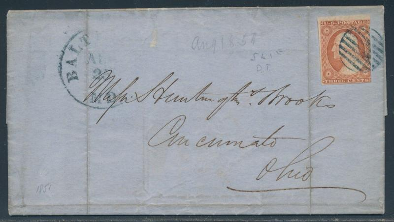 #10A ON FOLDED LETTER BALTIMORE,MD TO CINCINNATI,OH 8/25/1851 CV $210 BR4320