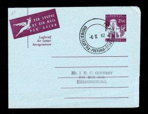 SOUTH AFRICA 2½C AEROGRAMME 1962 PHILATELIC BUREAU CANCEL PRETORIA