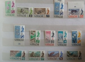 Gibraltar 1960 Definitives lightly mounted mint stamps to 10/-