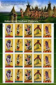 Scott #3072-76 - American Indian Dances - Full Sheet - MNH