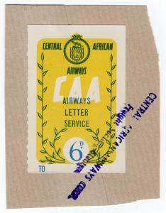 (I.B) Rhodesia Cinderella : Central African Airways Letter Service 6d
