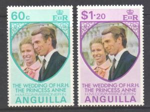 Anguilla Scott 179/180, 1973 Royal Wedding Set MNH**