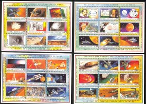 SIERRA LEONE 1990 EXPLORATION OF MARS Miniature Sheets Sc 1167-1170 MNH