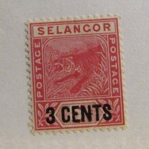 MALAYA  SELANGOR Sc# 28 * MH, tiger cat, postage stamp, Fine +
