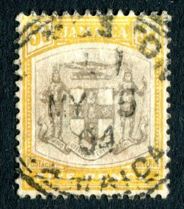 Jamaica 1903. 5d grey & yellow. Used. Crown CA. SG36.
