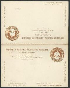MEXICO Early 3c postcard with reply card unused............................66196