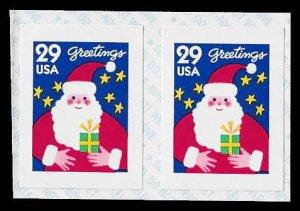 PCBstamps     US #2873v Coil Pair 58›(2x29›)Santa Claus, 1994, MNH, (3)