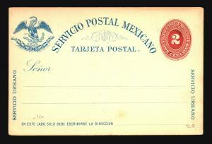 Mexico 1880s 2c UPU Card Unused / Carmine & Blue (Sm Corner Creases) - Z15190