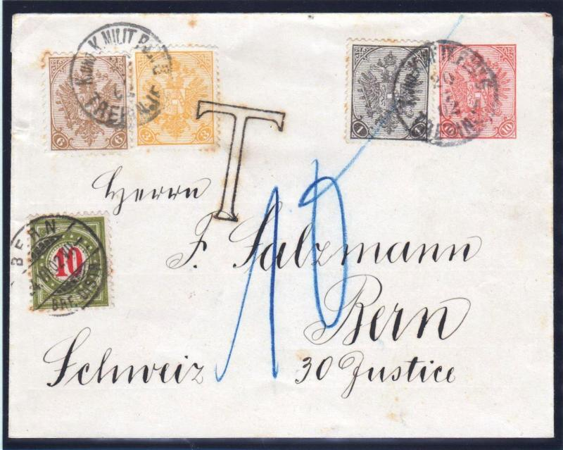AUSTRIA BOSNIA 1902. POSTAL ENTIRE from TREBINJE to BERN SWITZERLAND PORTO