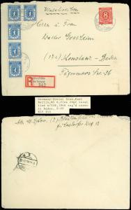 1946 REG'D Cov, BLANKENFELDE CDS, GERMANY-SOVIET ZONE, E. Berlin Local, SC #536!