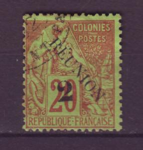 J12423 JLstamps 1891 french reunion used #32 ovpt