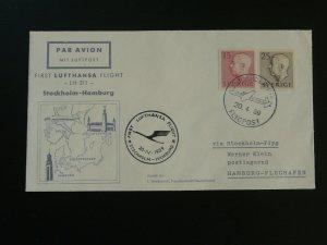 first flight cover Lufthansa 1959 Stockholm Sweden to Hamburg 92186