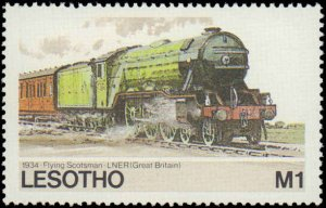 Lesotho #453-457, Complete Set(5), 1984, Trains, Never Hinged